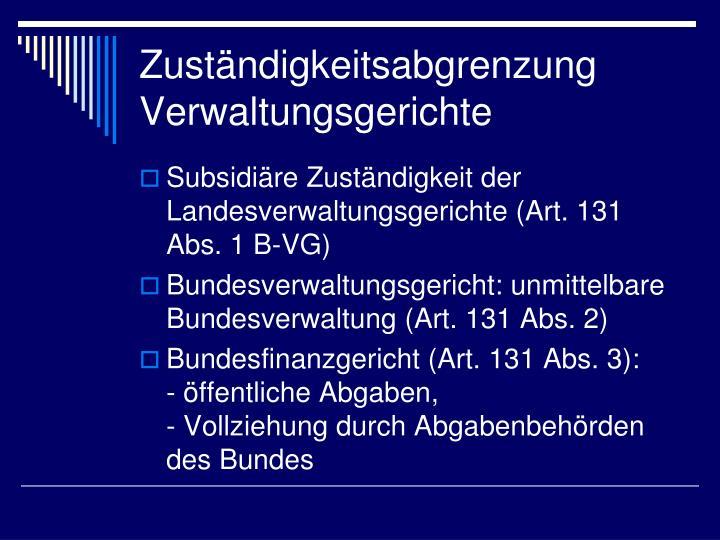 Zuständigkeitsabgrenzung Verwaltungsgerichte