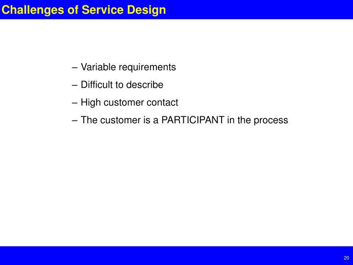 Challenges of Service Design