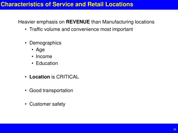 Characteristics of Service and Retail Locations