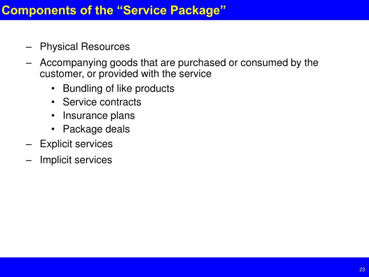 "Components of the ""Service Package"""