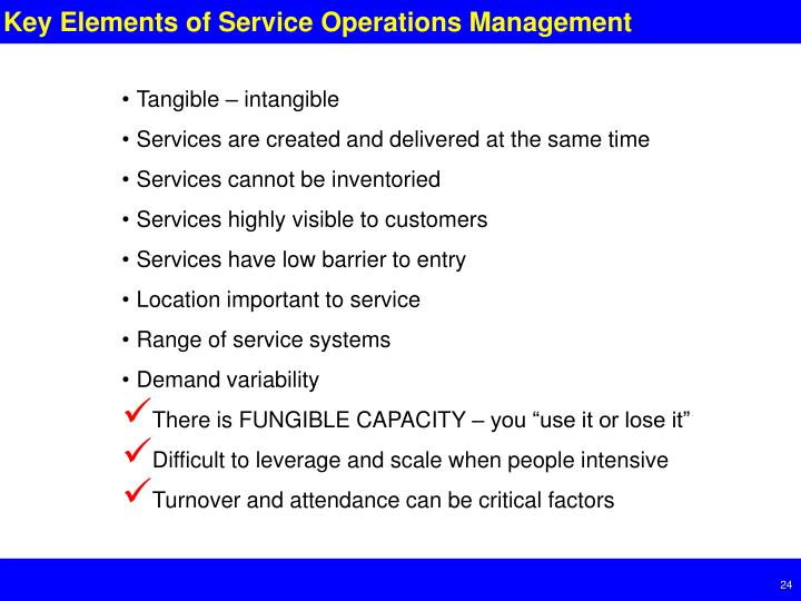 Key Elements of Service Operations Management