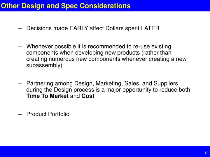 Other Design and Spec Considerations