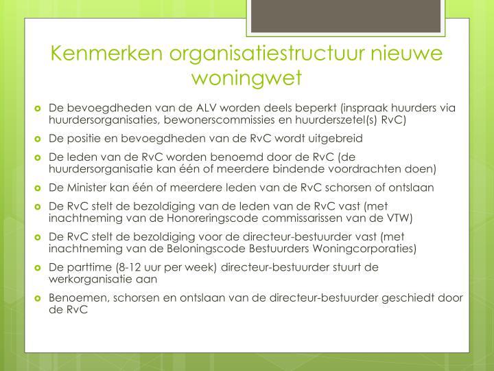 Kenmerken organisatiestructuur nieuwe woningwet