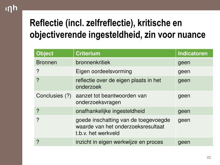 Reflectie (incl. zelfreflectie), kritische en objectiverende ingesteldheid, zin voor nuance