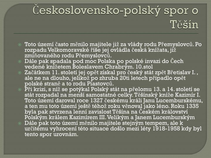 Československo-polský spor o Těšín