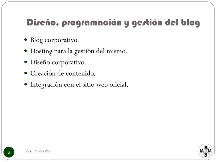 Diseño, programación y gestión del blog