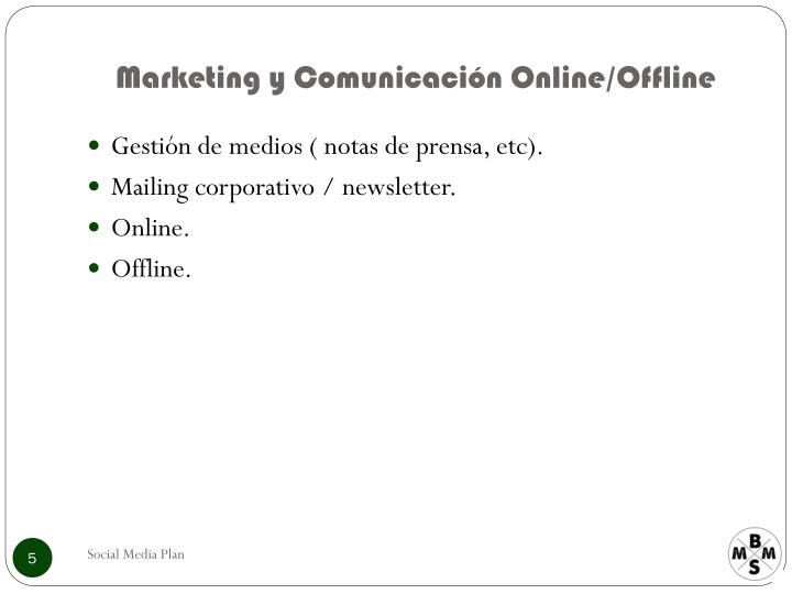 Marketing y Comunicación Online/Offline