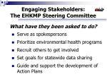 engaging stakeholders the ehkmp steering committee