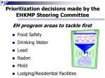 prioritization decisions made by the ehkmp steering committee