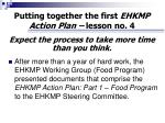 putting together the first ehkmp action plan lesson no 4