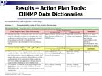 results action plan tools ehkmp data dictionaries1