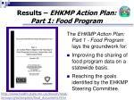 results ehkmp action plan part 1 food program