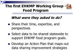 the first ehkmp working group food program