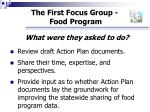 the first focus group food program