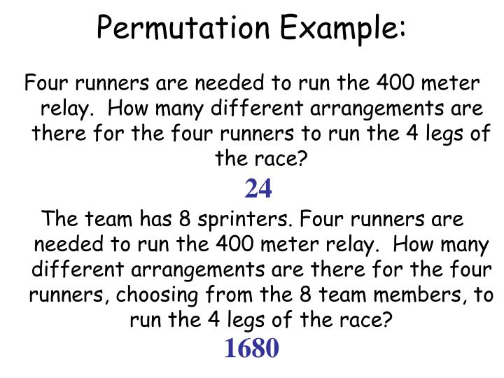Permutation Example: