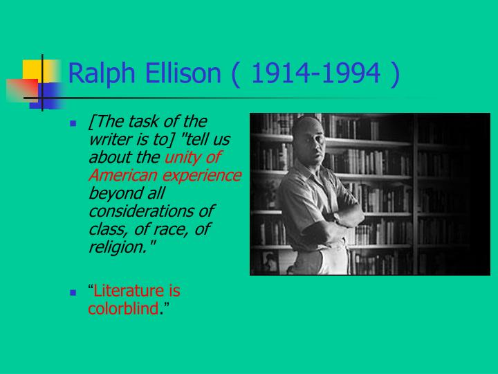 the life of ralph waldo ellison an american writer Watch video biographycom presents the story of ralph ellison, the writer and thinker known for the landmark 1952 novel on the african-american experience, invisible man.