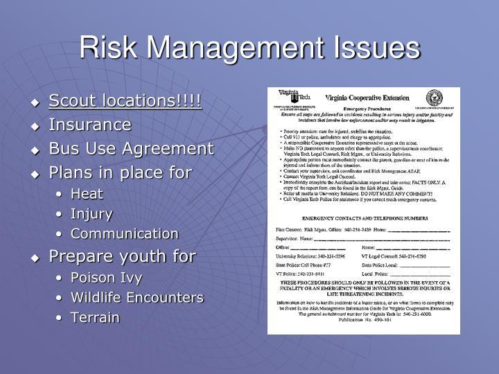 Risk Management Issues