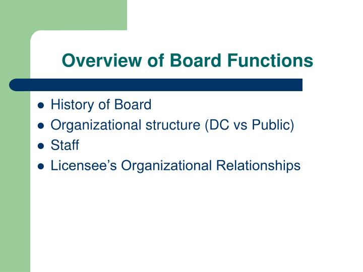 Overview of Board Functions