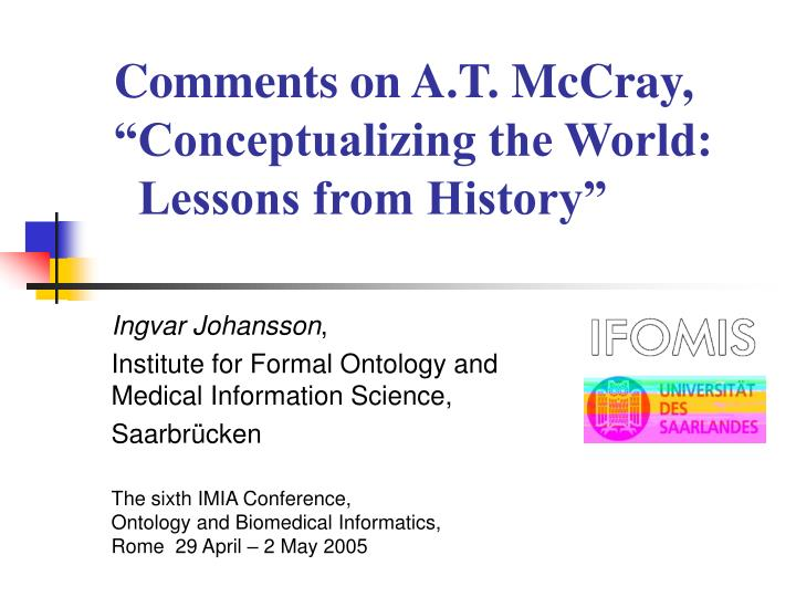 comments on a t mccray conceptualizing the world lessons from history