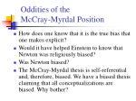 oddities of the mccray myrdal position
