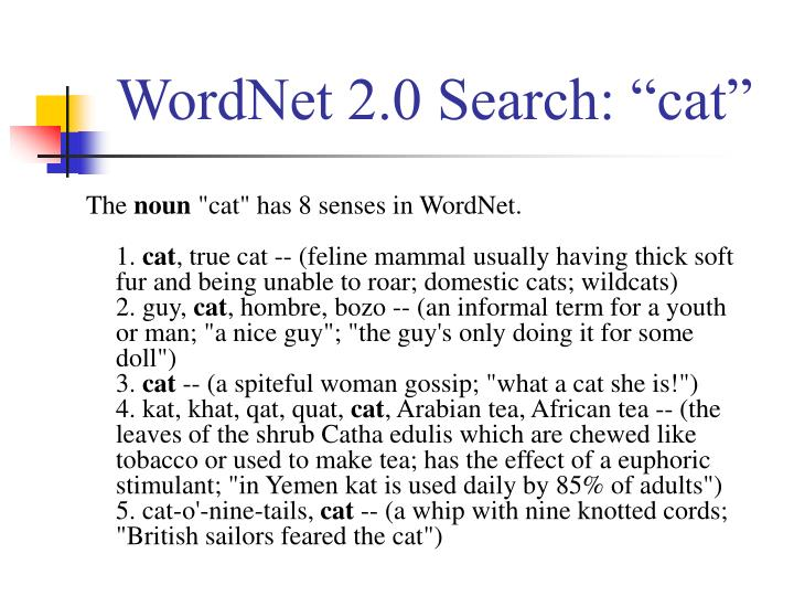 "WordNet 2.0 Search: ""cat"""