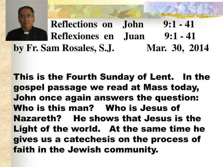 Reflections  on    John        9:1 - 41