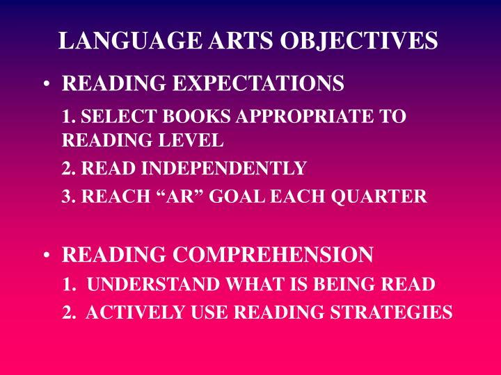 LANGUAGE ARTS OBJECTIVES