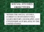 social studies objectives