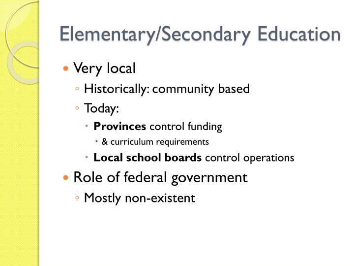 Elementary/Secondary Education