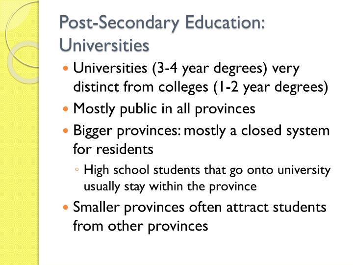 Post-Secondary Education: Universities