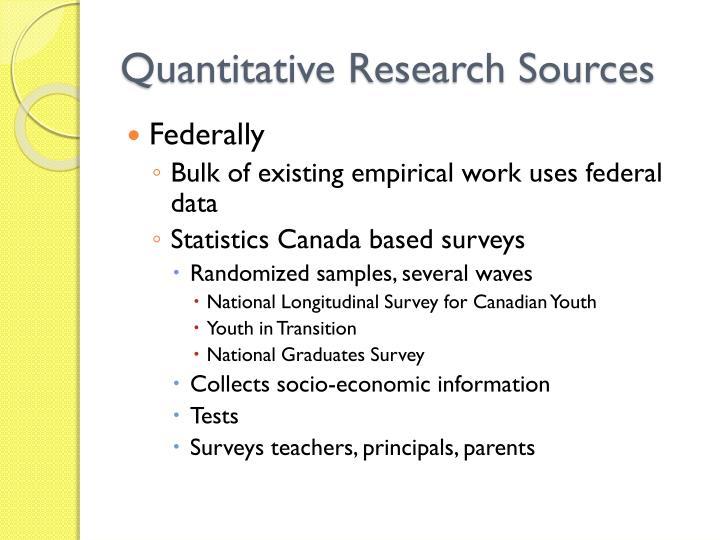 Quantitative Research Sources