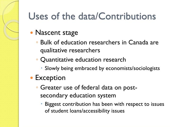 Uses of the data/Contributions