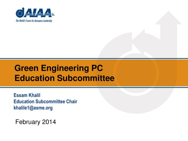 Green engineering pc education subcommittee