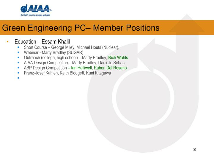 Green engineering pc member positions