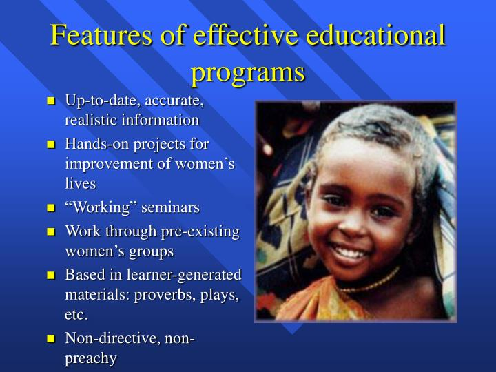 Features of effective educational programs