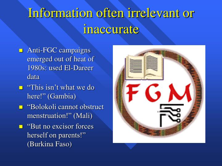 Information often irrelevant or inaccurate