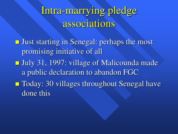 Intra-marrying pledge associations
