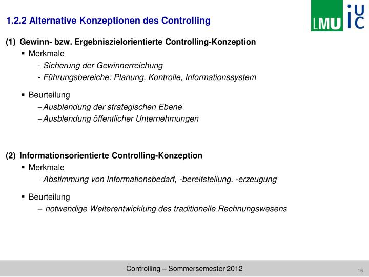 1.2.2 Alternative Konzeptionen des Controlling