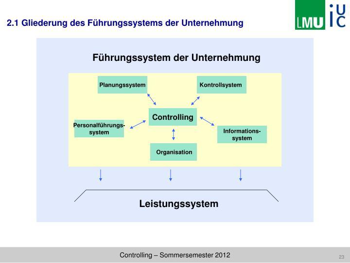 2.1 Gliederung des Führungssystems der Unternehmung