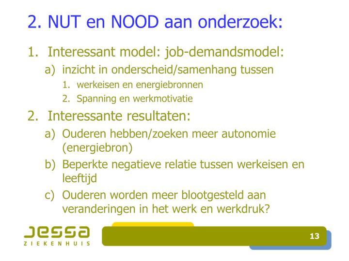 2. NUT en NOOD aan onderzoek: