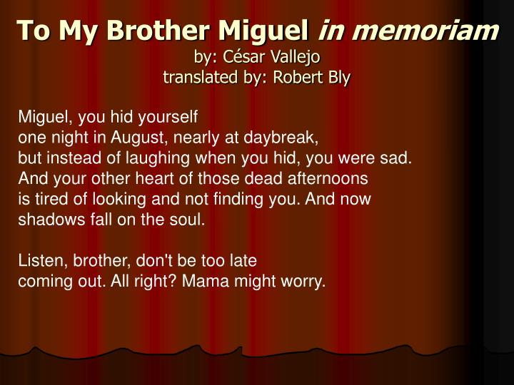 To My Brother Miguel