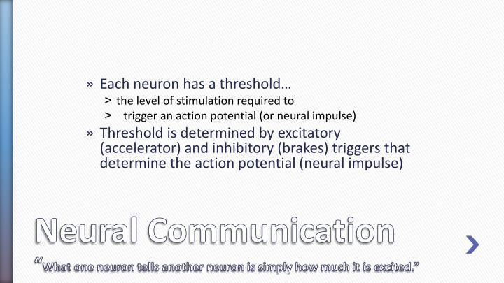 Each neuron has a threshold…