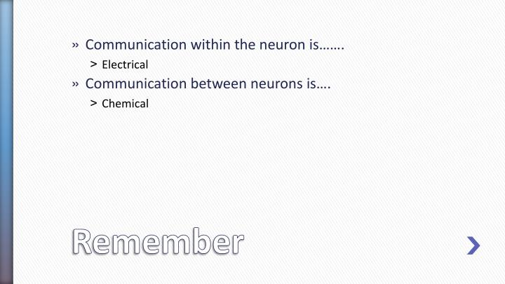 Communication within the neuron is…….