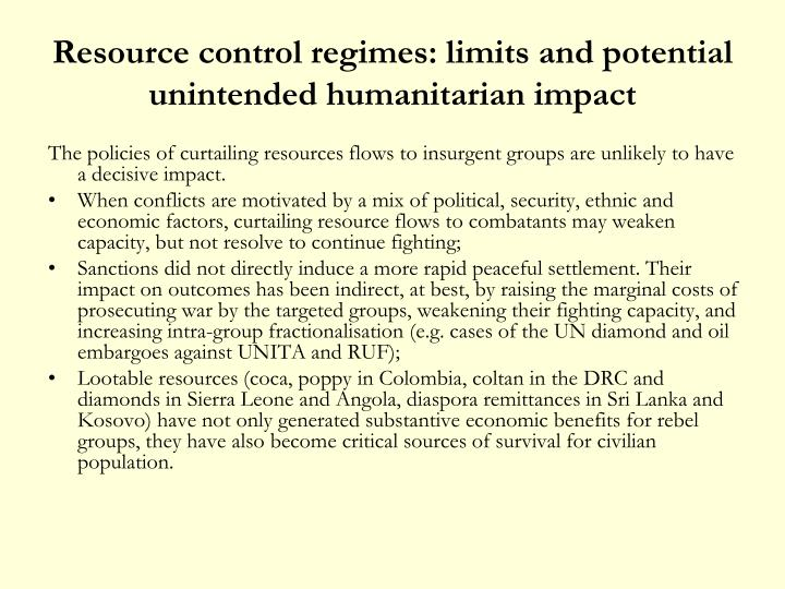 Resource control regimes: limits and potential unintended humanitarian impact