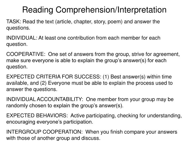 Reading Comprehension/Interpretation