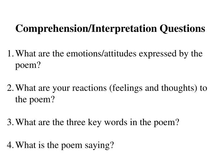 Comprehension/Interpretation Questions