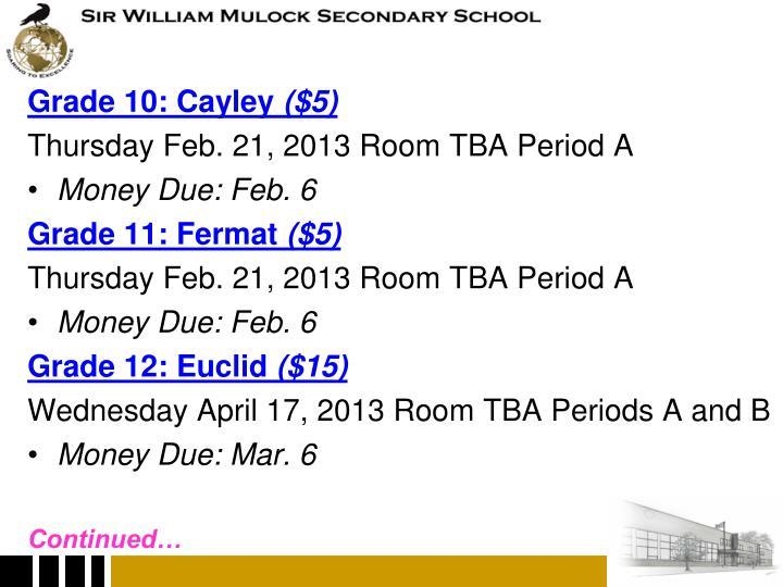 Grade 10: Cayley