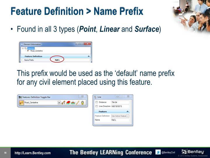 Feature Definition > Name Prefix