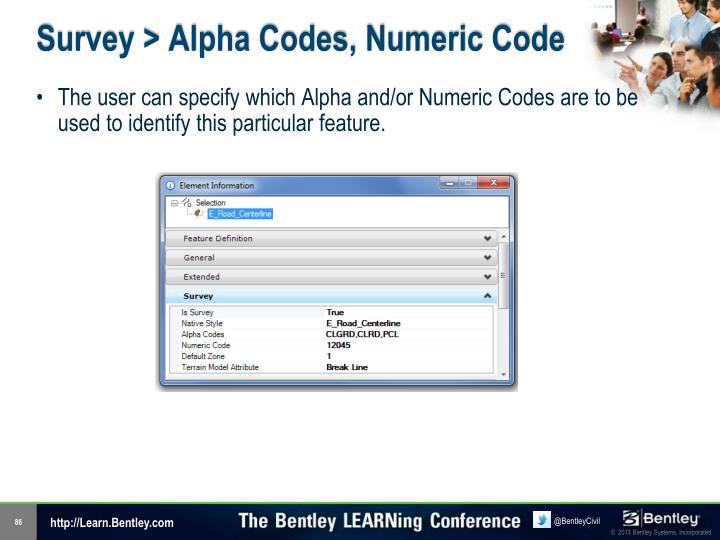 Survey > Alpha Codes, Numeric Code