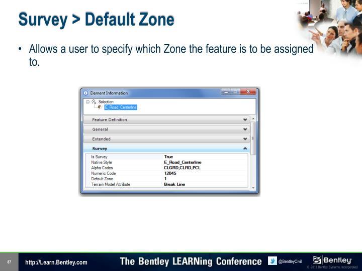 Survey > Default Zone